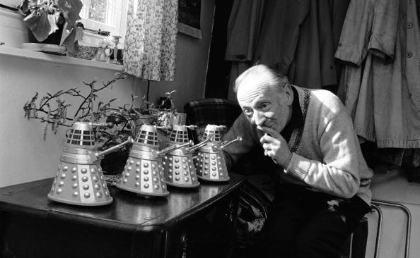 The First Doctor (William Hartnell) with teeny tiny Daleks.