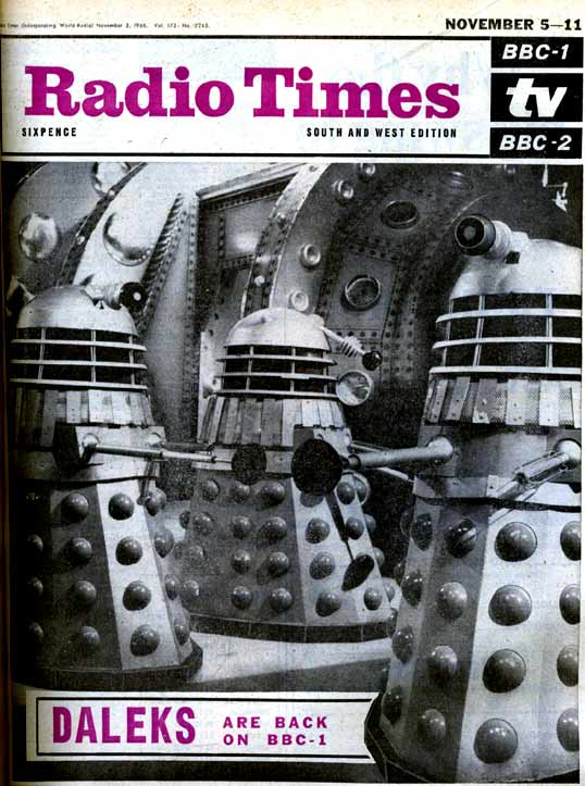 """Patrick Troughton's debut appearance as the new Doctor Who goes almost unnoticed as the Daleks are the focus for 'Radio Times'. As this was the first time 'Doctor Who' had changed its lead actor, the emphasis for this edition of the magazine is very much business as usual. The half-page feature on page 3 reassures viewers that the serial is directed by the same man who brought the Daleks to the screen in their first adventure and that the metal monsters are, once again, voiced by Peter Hawkins. Patrick Troughton's debut is almost an aside. Article courtesy of 'The Radio Times' Magazine."""