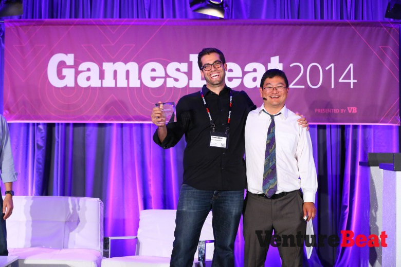 Above: The Tap Lab's chief executive Dave Bisceglia with GamesBeat writer Dean Takahashi. Image Credit: Michael O'Donnell/VentureBeat Courtesy: Venturebeat