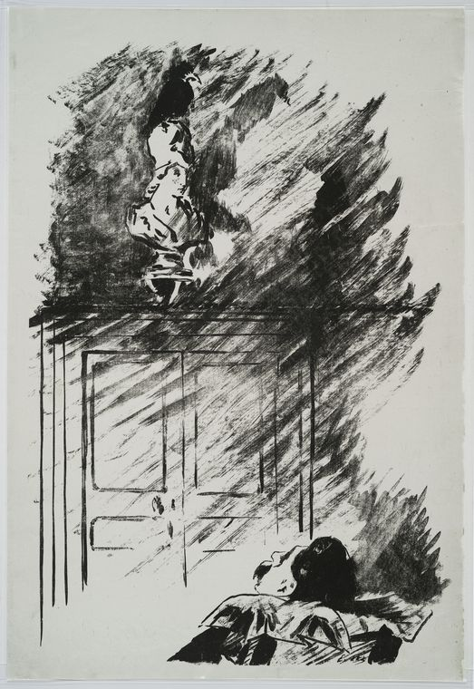 Image Title:  [The raven on the bust of Pallas.] Creator: Manet, Edouard, 1832-1883 -- Illustrator Brush-and-ink transfer relief plate (?) or transfer lithograph, printed on China paper; state noted with standard reference number.