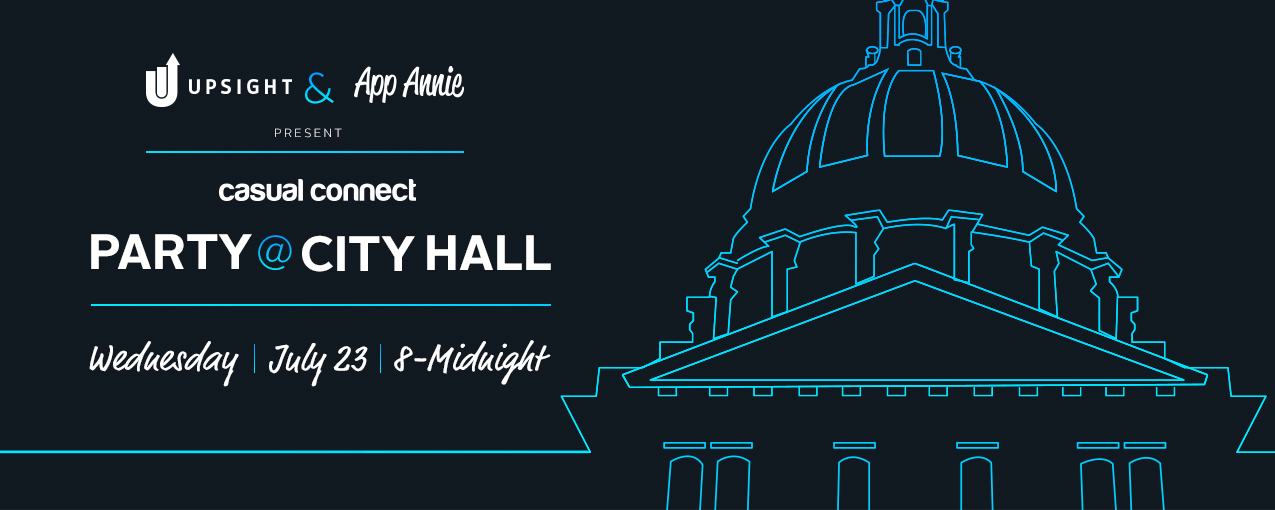 Flyer for the Casual Connect Party at City Hall